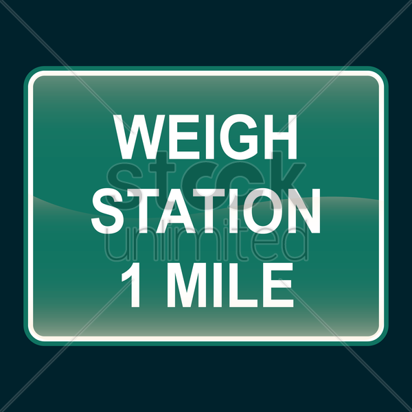 weigh station 1 mile sign vector graphic