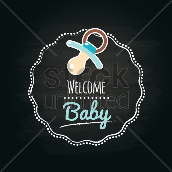 welcome baby label vector graphic