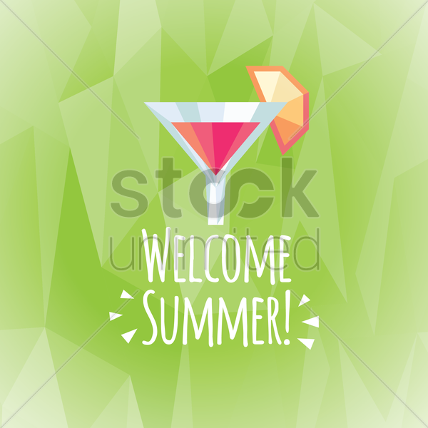 welcome summer card vector graphic
