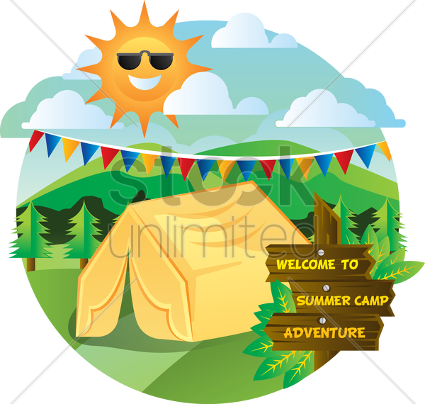 welcome to summer camp adventure vector graphic