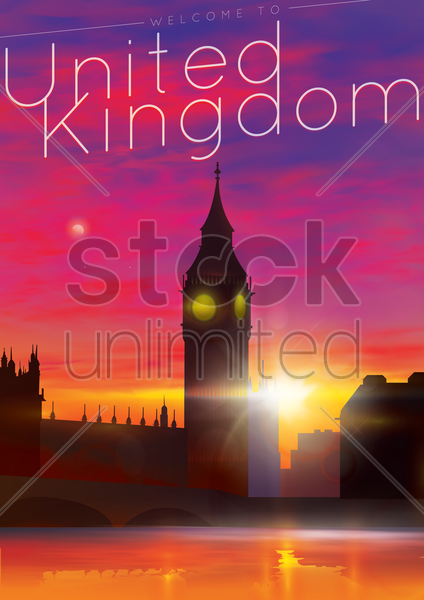 welcome to united kingdom poster vector graphic