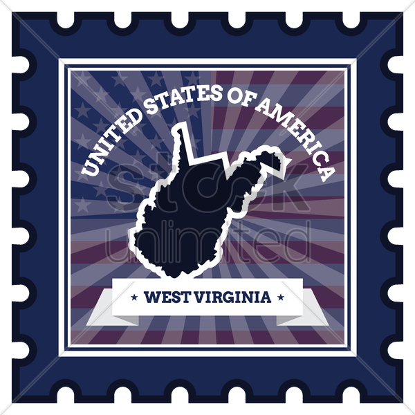 west virginia postage stamp vector graphic