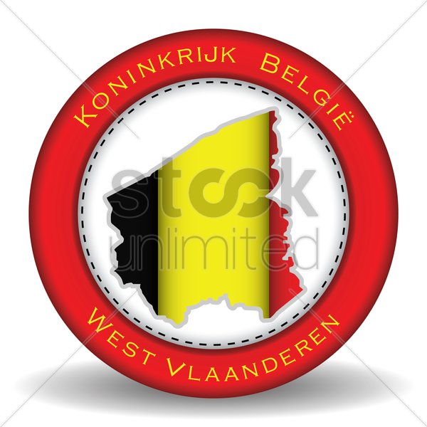 west vlaanderen map sticker vector graphic