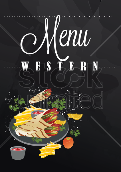 western menu poster vector graphic