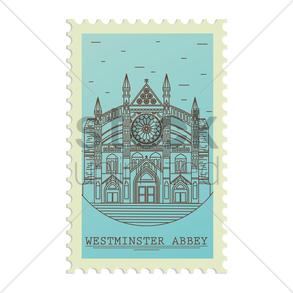 westminster abbey postage stamp vector graphic