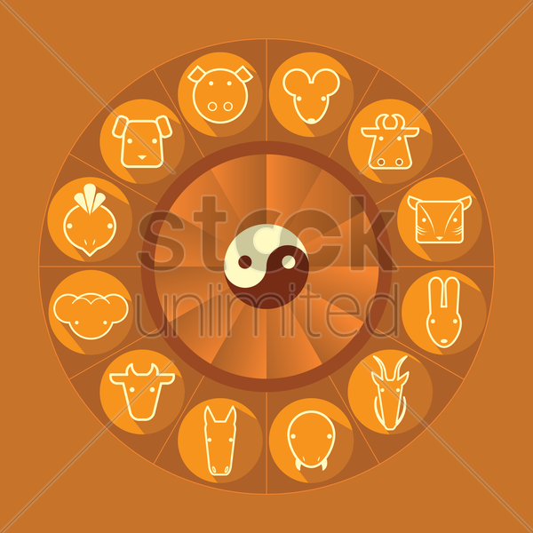 wheel of zodiac signs vector graphic