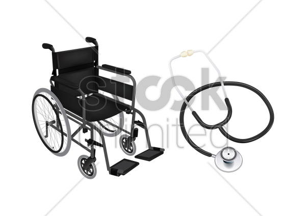 wheelchair and stethoscope vector graphic
