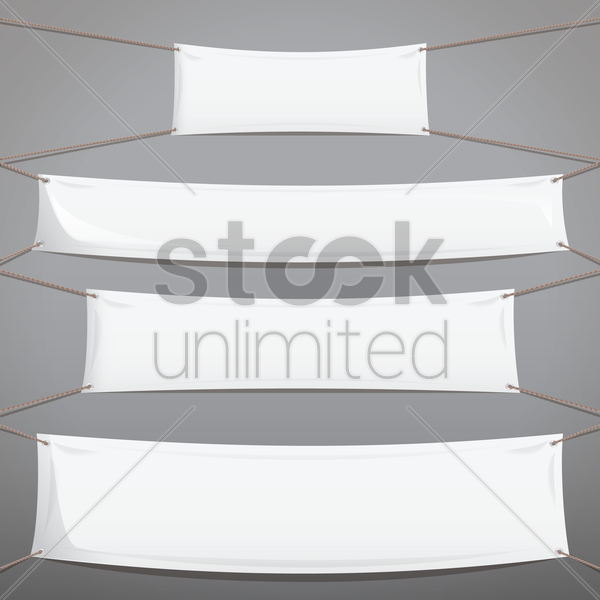 white banner collection vector graphic