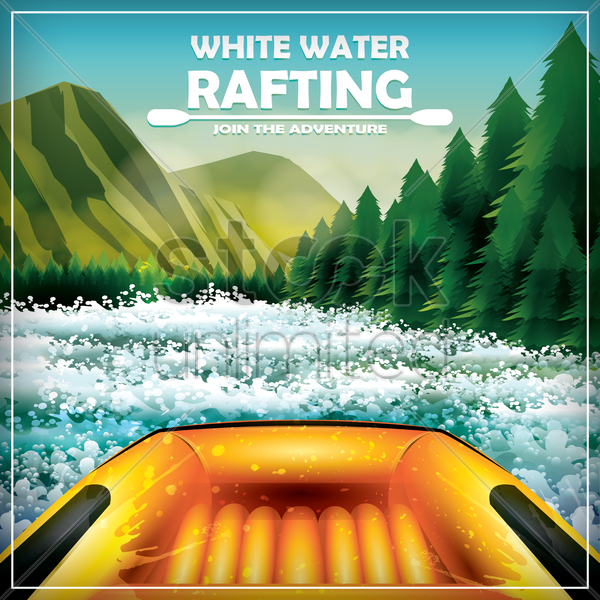 whitewater rafting poster vector graphic
