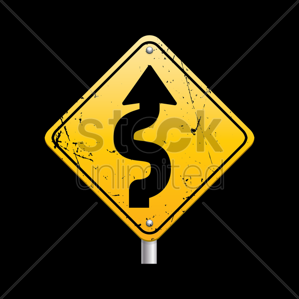 winding road sign vector graphic