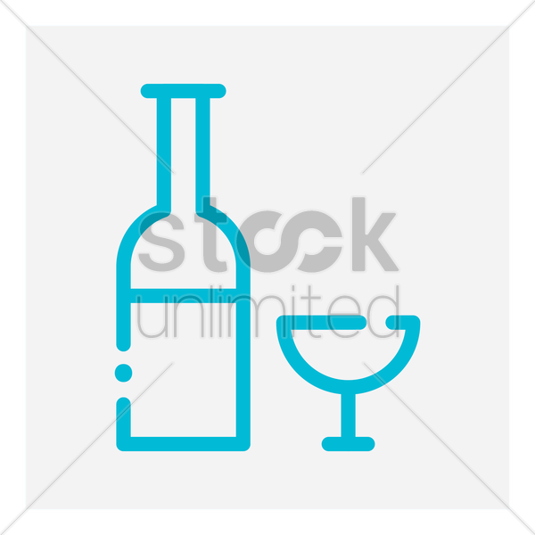 wine bottle and glass vector graphic