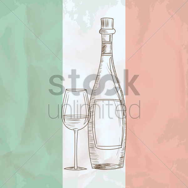 wine bottle with glass vector graphic