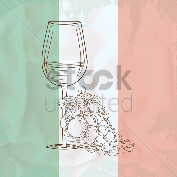 wine glass with grapes vector graphic