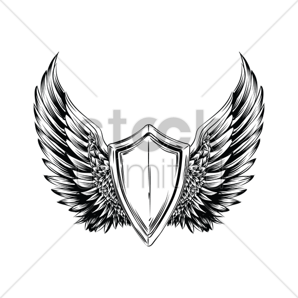 winged emblem vector graphic