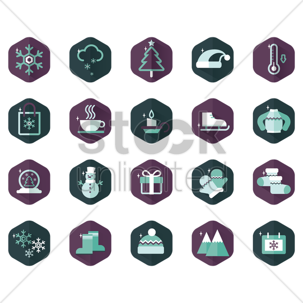 winter icons vector graphic