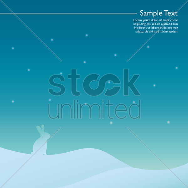 winter landscape with rabbit vector graphic