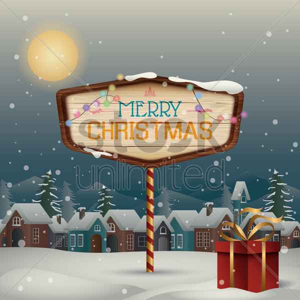 winter town with merry christmas signboard vector graphic