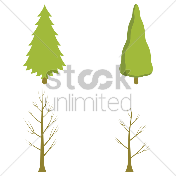 winter trees vector graphic