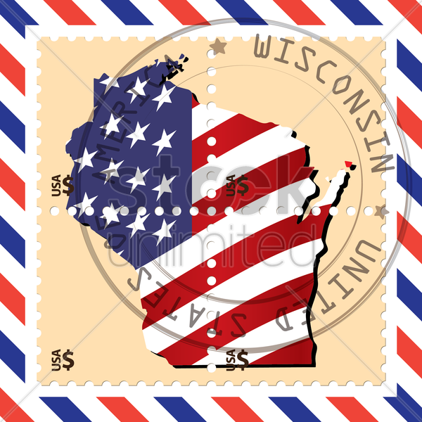 wisconsin stamp vector graphic