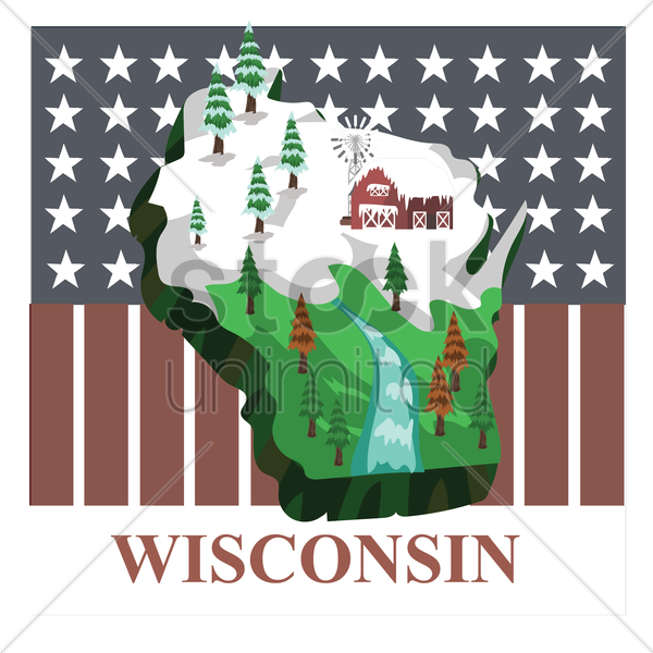 wisconsin state map vector graphic