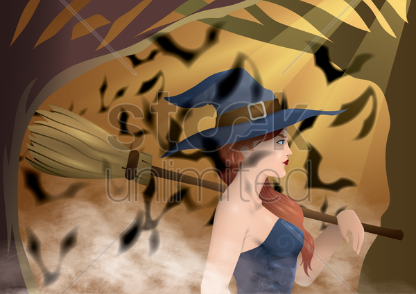 witch holding broom vector graphic