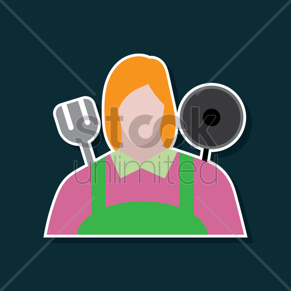 woman chef vector graphic