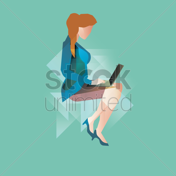 woman dressed in working attire using a laptop vector graphic