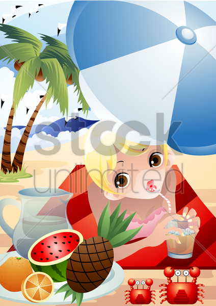 woman enjoying a glass of cocktail vector graphic