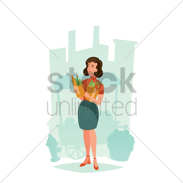 woman holding bag of groceries vector graphic