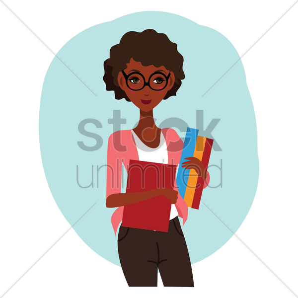 woman holding books vector graphic