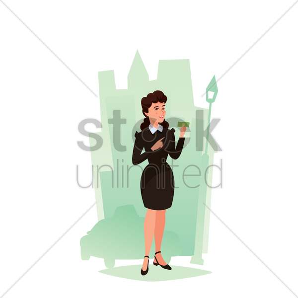 woman holding dollar note vector graphic