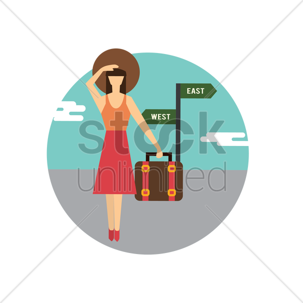 Free woman holding suitcase vector graphic