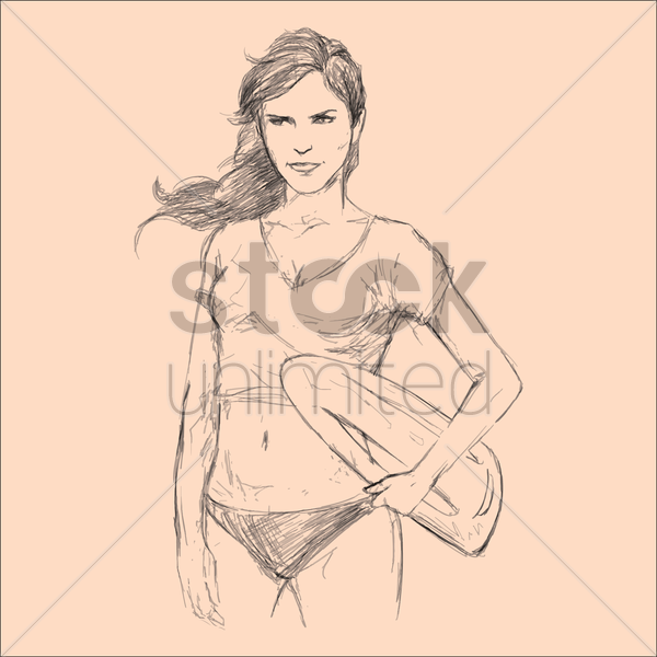 woman on beach vector graphic