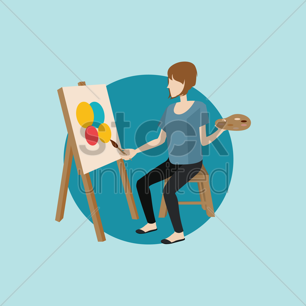 woman painting on canvas vector graphic