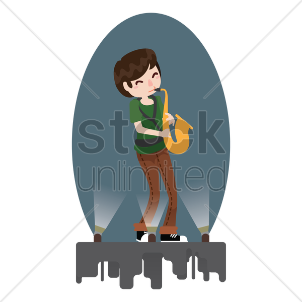 woman playing a saxophone vector graphic