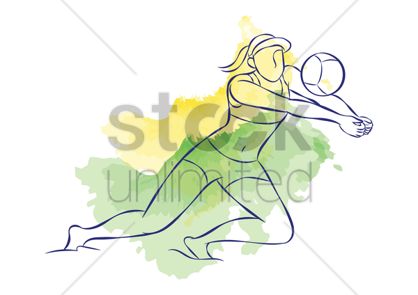woman playing beach volleyball vector graphic