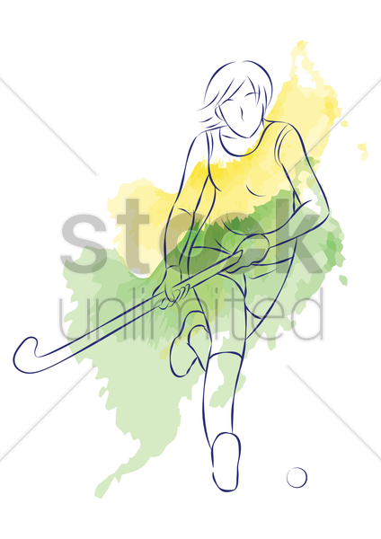 woman playing hockey vector graphic