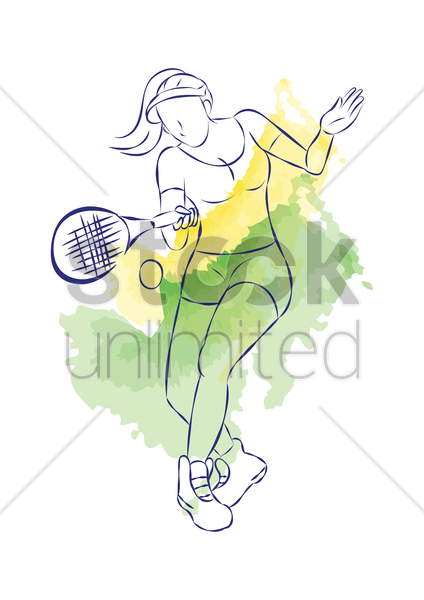 woman playing tennis vector graphic