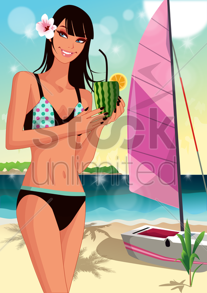 woman posing by the yacht vector graphic