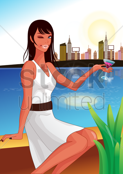 woman posing with a glass of cocktail vector graphic