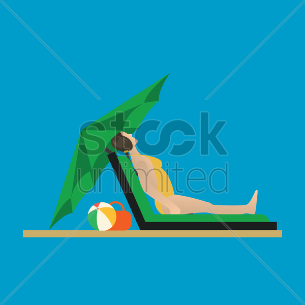 woman relaxing on a deck chair vector graphic