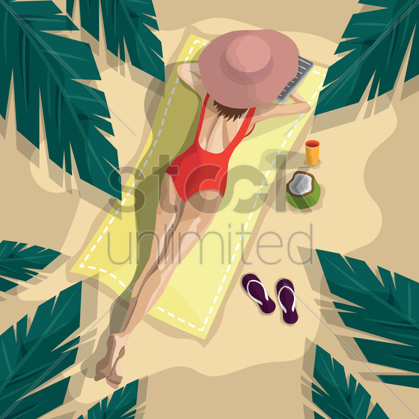 woman relaxing on beach vector graphic