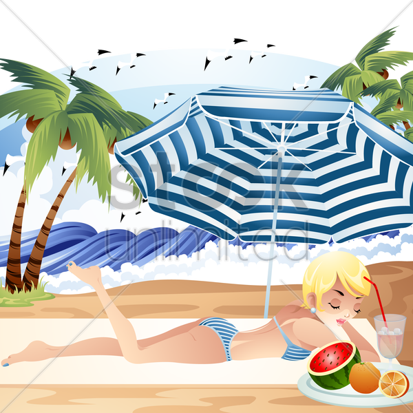 woman relaxing under the beach umbrella vector graphic