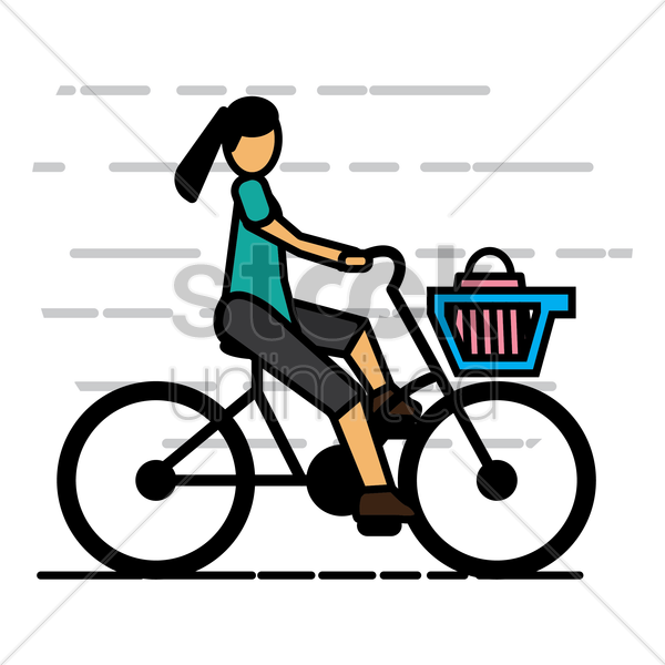 woman riding cycle vector graphic