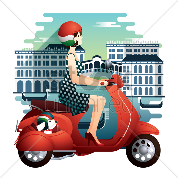 woman riding scooter in italy vector graphic