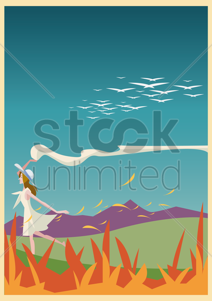 woman running with scarf in garden vector graphic