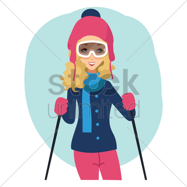 woman skier vector graphic