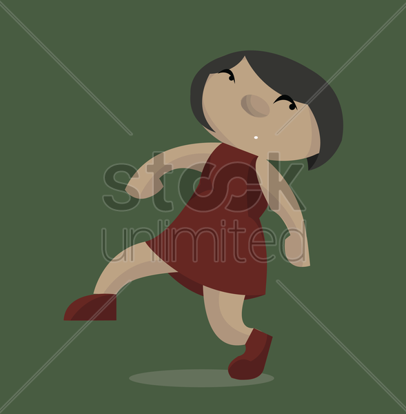 Free woman sneaking away vector graphic