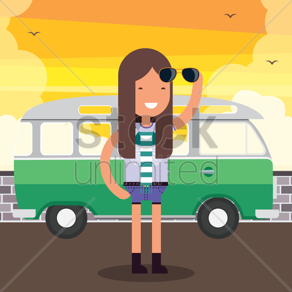 woman standing on street near a bus vector graphic