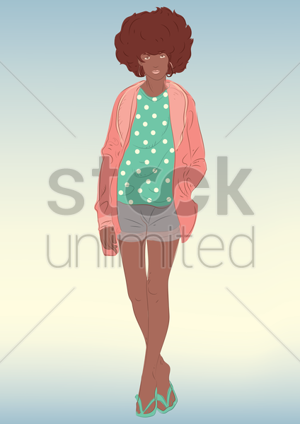 woman standing vector graphic
